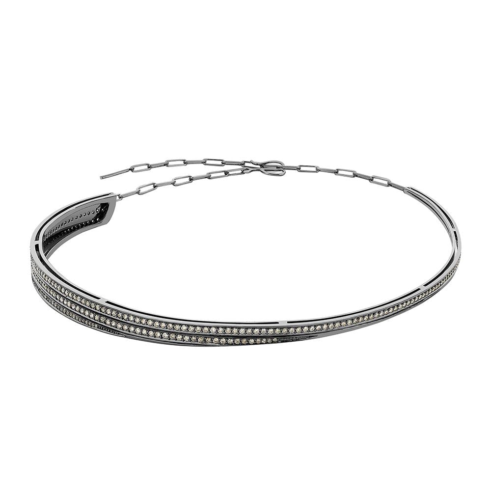 Deco Choker With 18K White Gold With Black Rhodium And Light Light Brown Diamonds