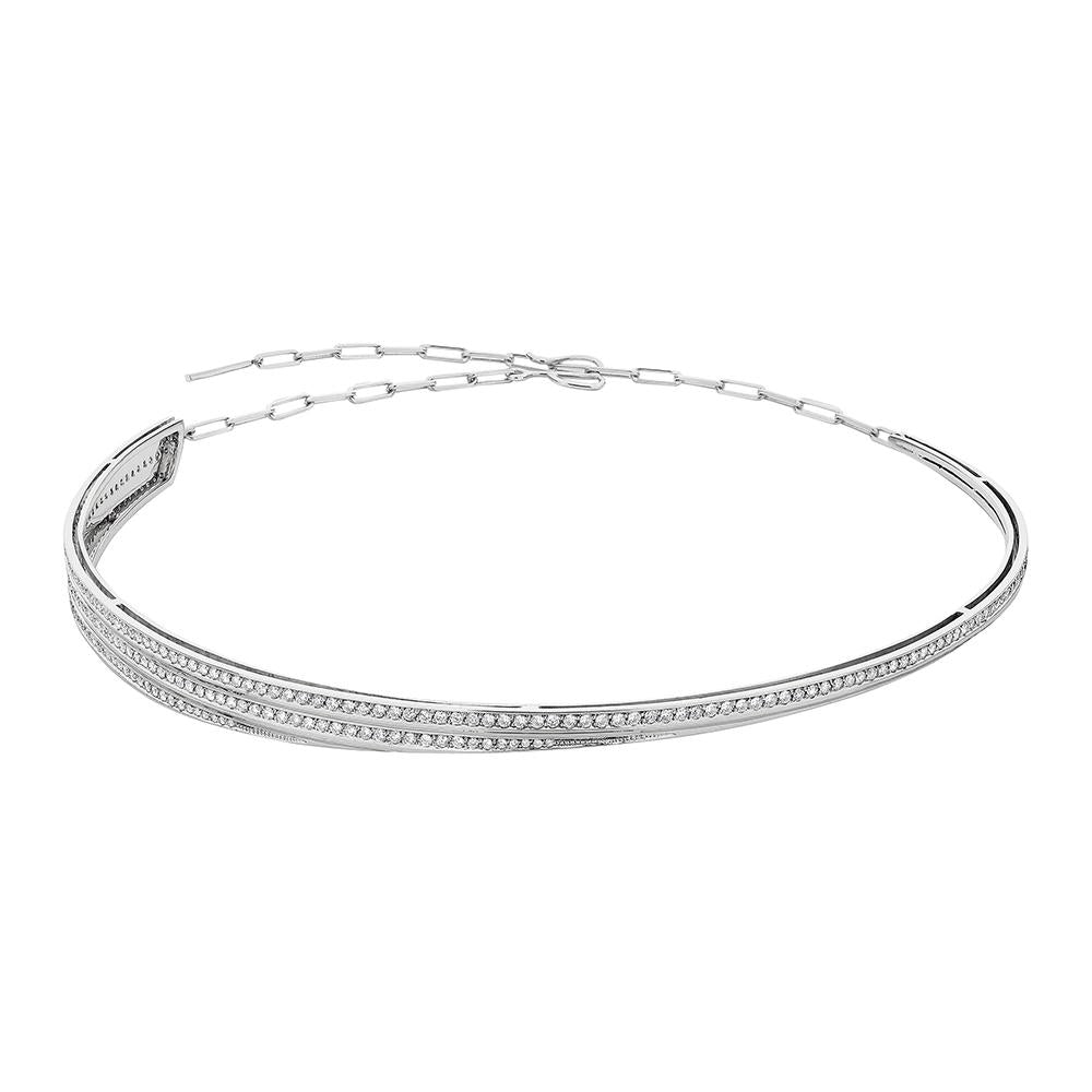 Deco Choker With 18K White Gold With Diamonds