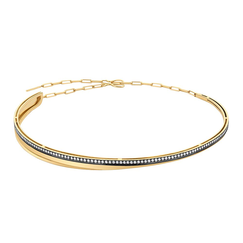Deco Choker With 18K Yellow Gold With Black Rhodium And Light Light Brown Diamonds