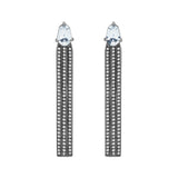 Deco Earrings With 18K White Gold With Black Rhodium, Sapphire And Light Light Brown Diamonds
