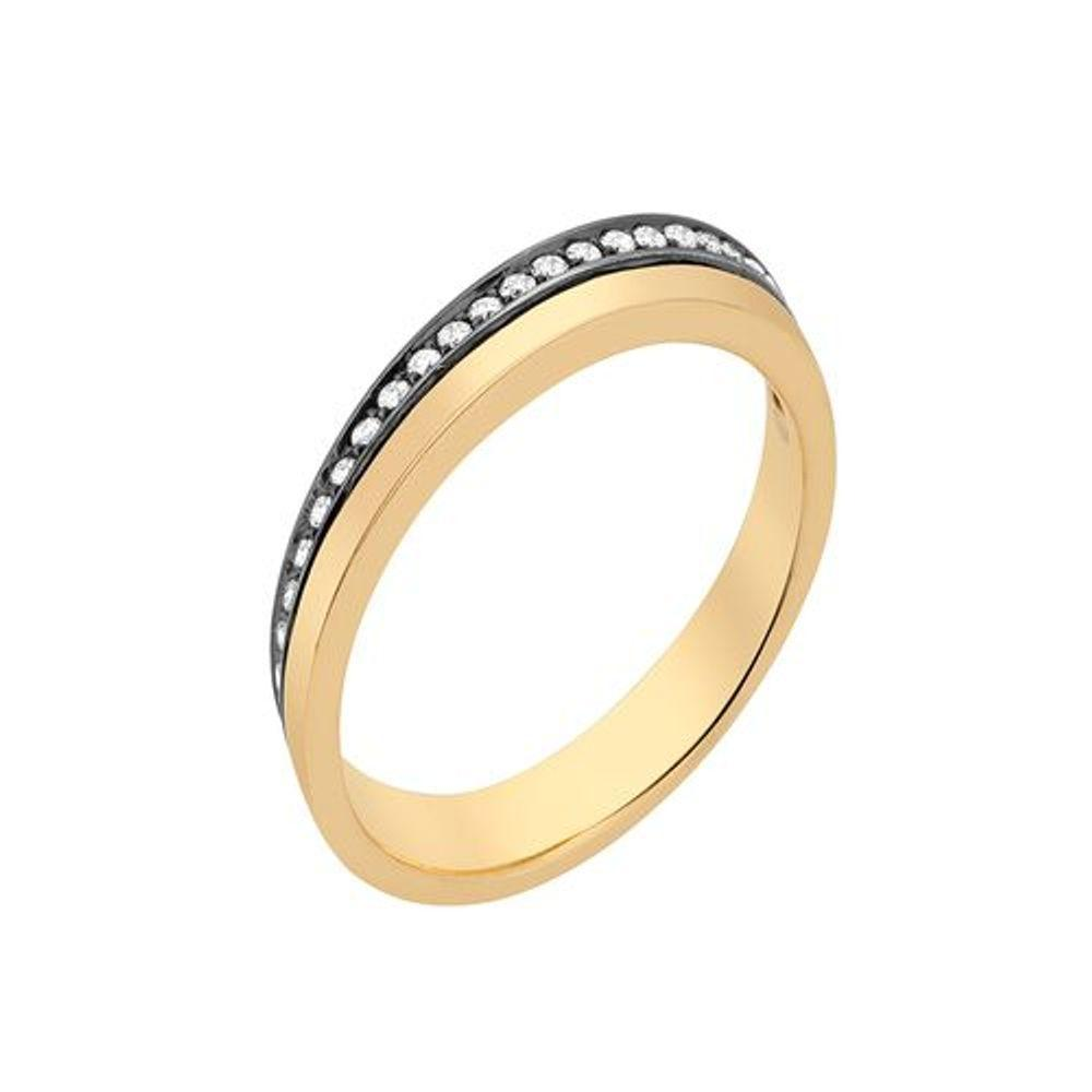 Deco Ring With 18K Yellow Gold With Black Rodhium And Light Light Brown Diamonds