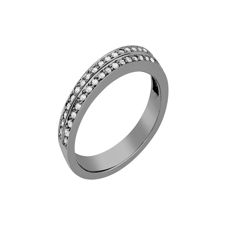 Deco Ring 18K White Gold with Black Rhodium and LLB Diamonds