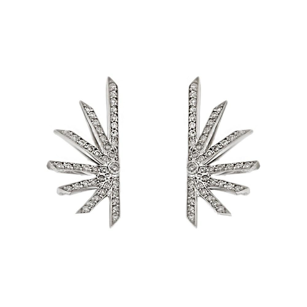 Diamond Star Earring With White Gold 18K With Diamonds 0,46Ct