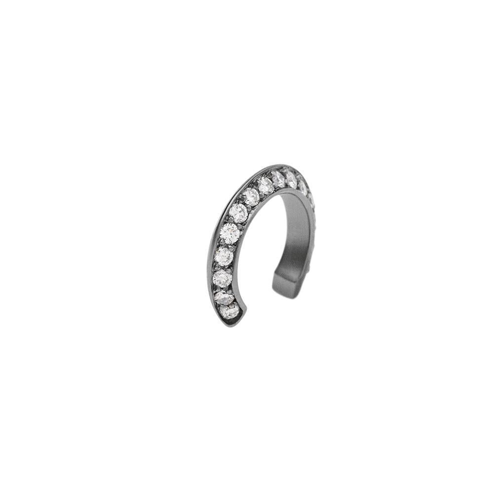 Ear Cuff Style Mid With 18K White Gold With Black Rhodium And Light Light Brown Diamonds 0,15Ct