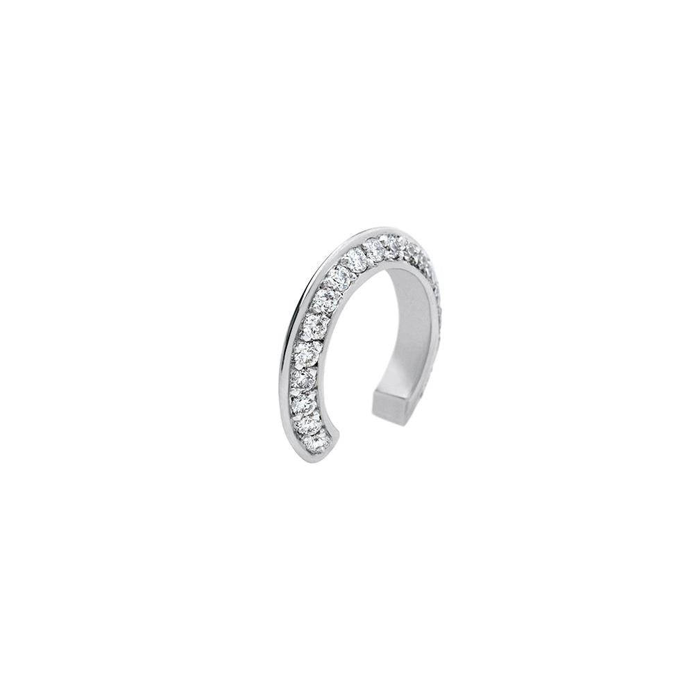 Ear Cuff Style Mid With 18K White Gold With Diamonds 0,15Ct
