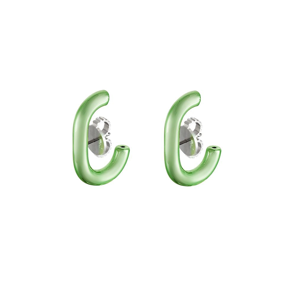 Ear Hook Silver with Green Lacquer