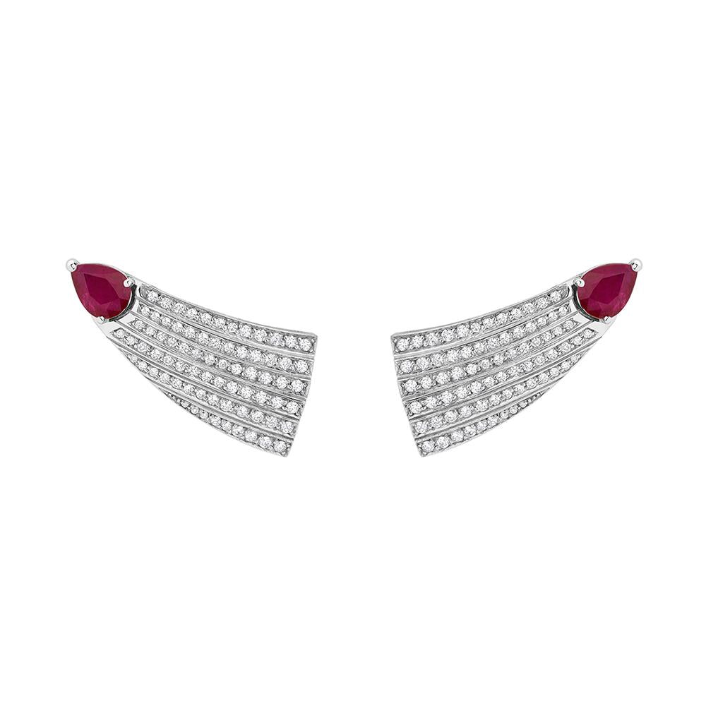 Eden Comet Earrings With 18K White Golda With Ruby An Diamonds