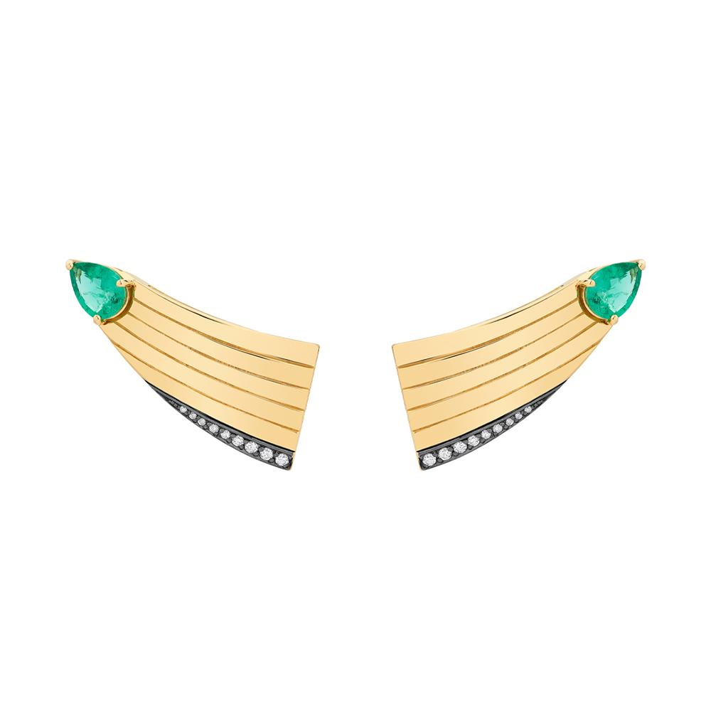 Eden Comet Earrings With 18K Yellow Gold With Black Rhodium, Emerald And Light Light Brown Diamonds