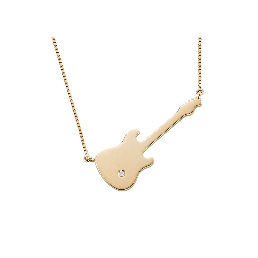 Guitar Necklace With 18K Yellow Gold With Diamond