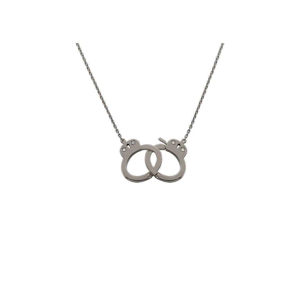 Handcuff Necklace With 18K White Gold With Black Rhodium And Diamonds 0,03Ct