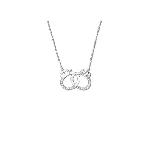 Handcuff Necklace - Medium Size in White Gold 18K With Diamonds 0,27Ct (Medium Size)