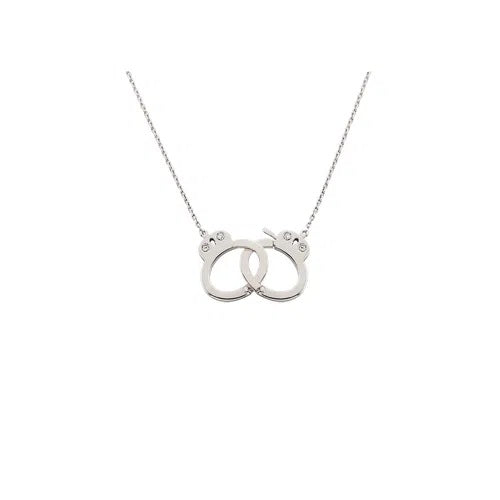 Handcuff Necklace - Medium Size in White Gold 18K With Diamonds 0,03Ct (Medium Size)