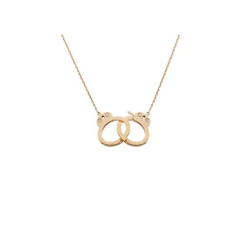 Handcuff Necklace - Medium Size in Rose Gold 18K With Diamonds 0,03Ct (Medium Size)