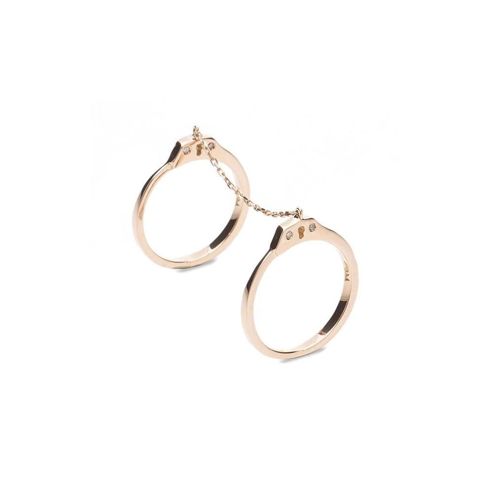 Handcuff Ring With Rose Gold 18K With Diamonds 0,04Ct