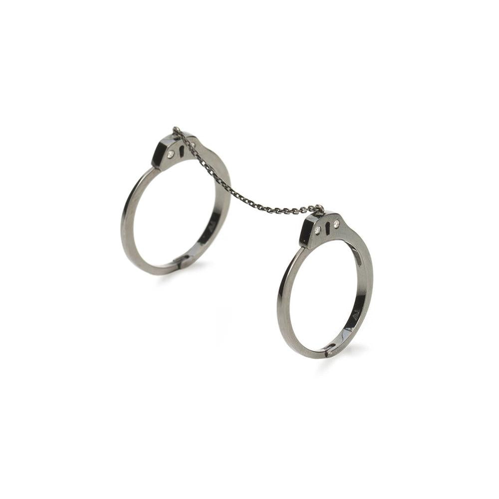 Handcuff Ring With White Gold 18K With Black Rhodium And Diamonds 0,04Ct