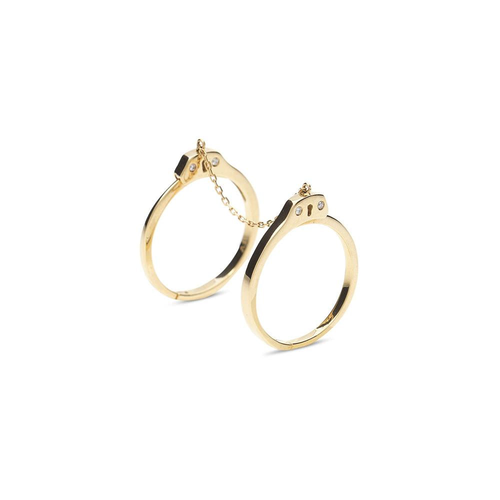 Handcuff Ring With Yellow Gold 18K With Diamonds 0,04Ct