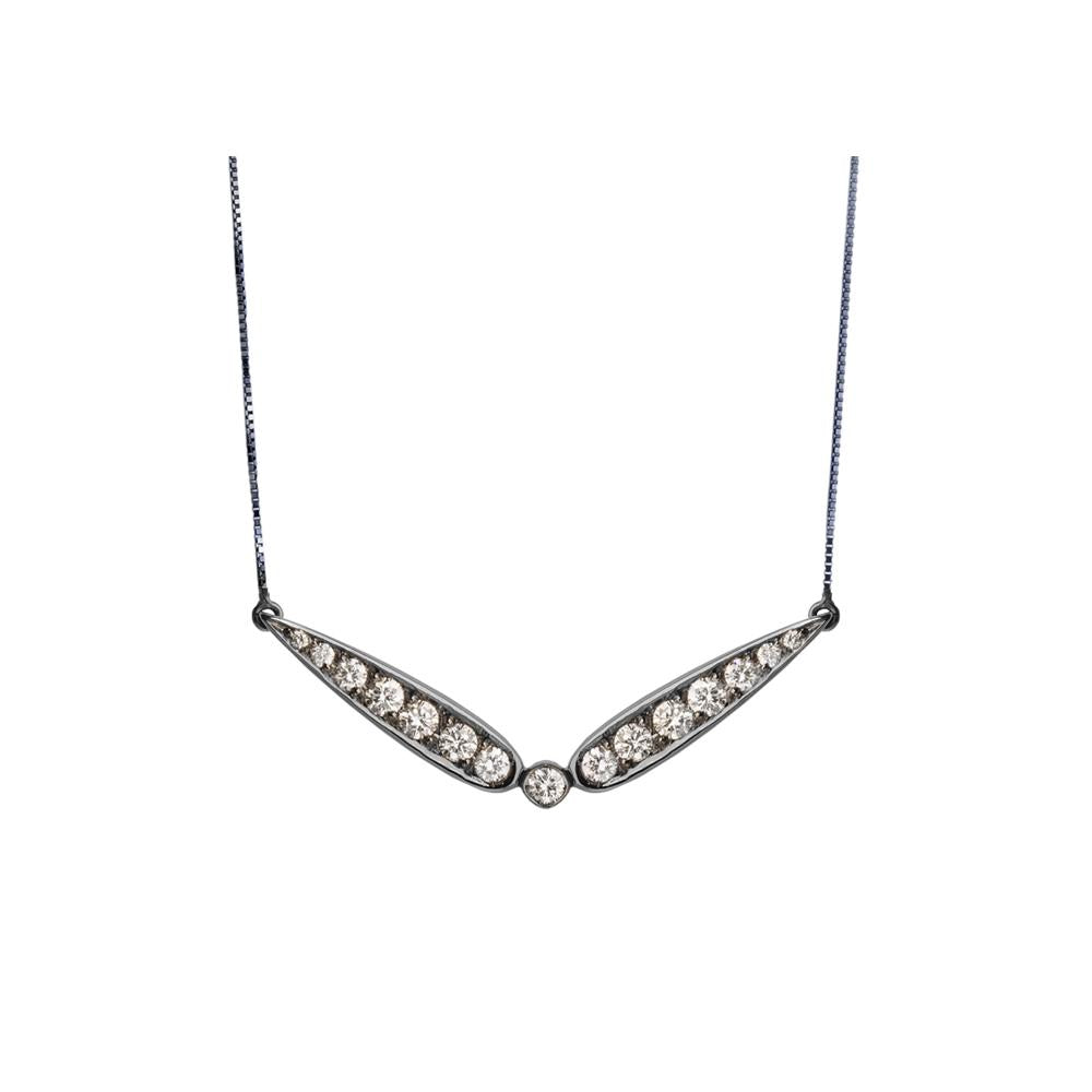 Inverted Diamond Necklace With Necklace In 18K White Gold With Black Rhodium And Llb Diamonds 0,35Ct