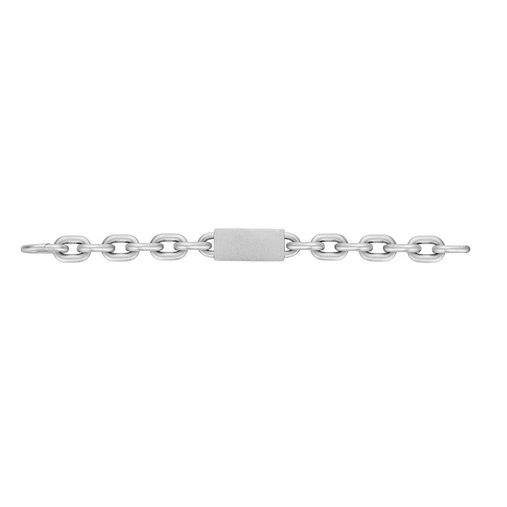 Jv Man Ii Chain Bracelet With Engravable Plate With Plated Silver And Matte Finish