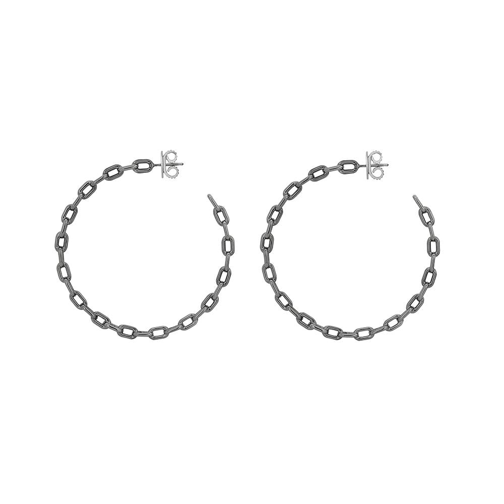 Large Chain Hoop Earring With Black Rhodium Plated Silver
