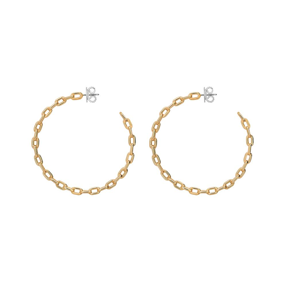 Large Chain Hoop Earrings With 18K Yellow Gold Plated Silver