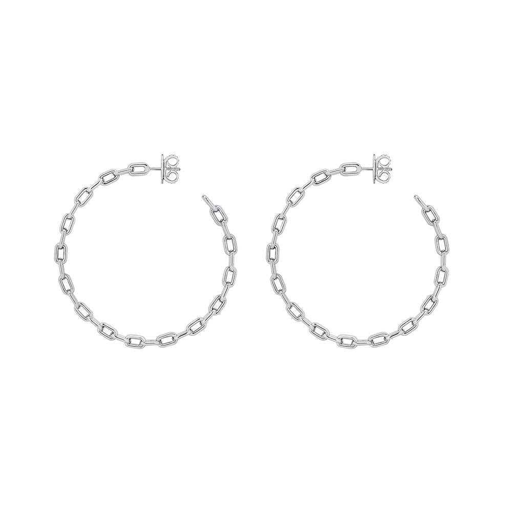 Large Chain Hoop Earrings With White Rhodium Plated Silver