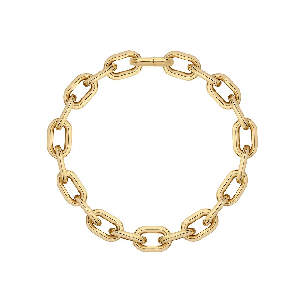 Large Chain Necklace With 18K Yellow Gold Plated Silver