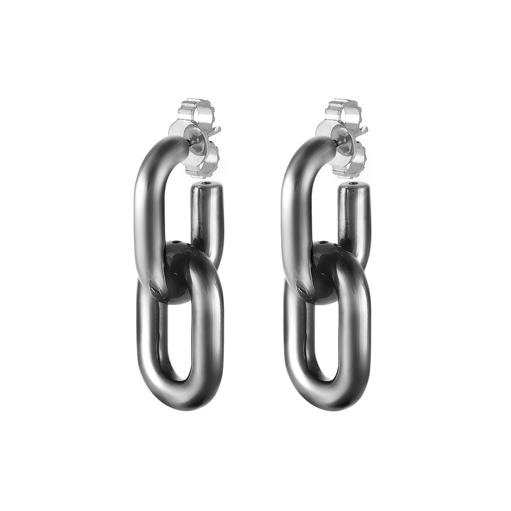 Large Double Link Earring Silver with Black Rhodium