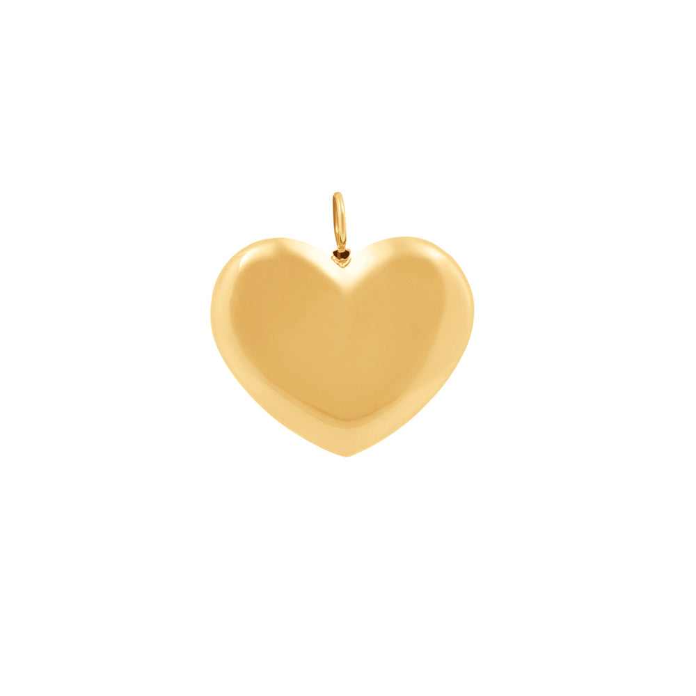 Large Heart Pendant With 18K Yellow Gold Plated Silver