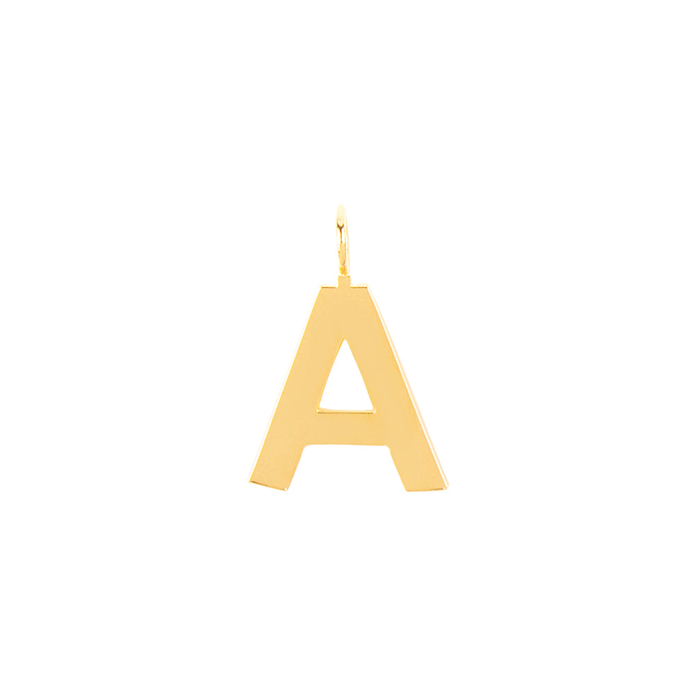 Large Letter Pendant With 18K Yellow Gold Plated Silver