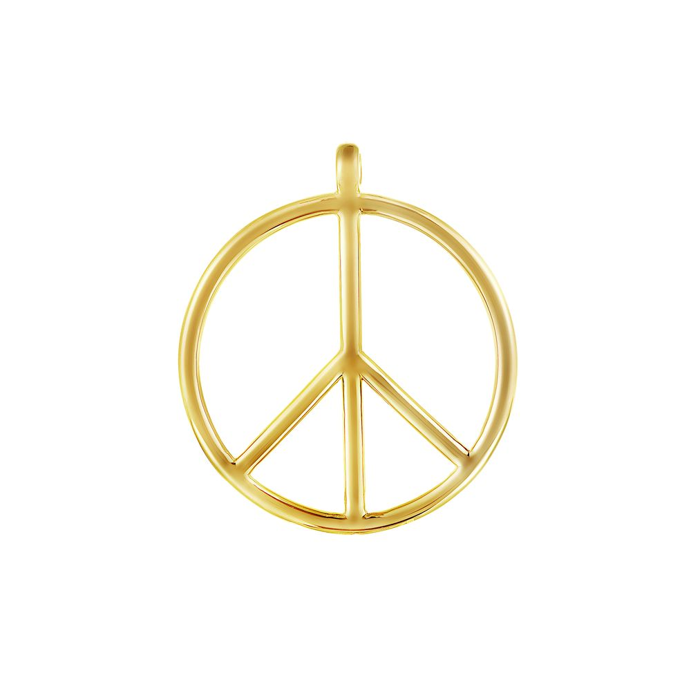 Large Peace and Love Pendant Silver with 18k Yellow Gold