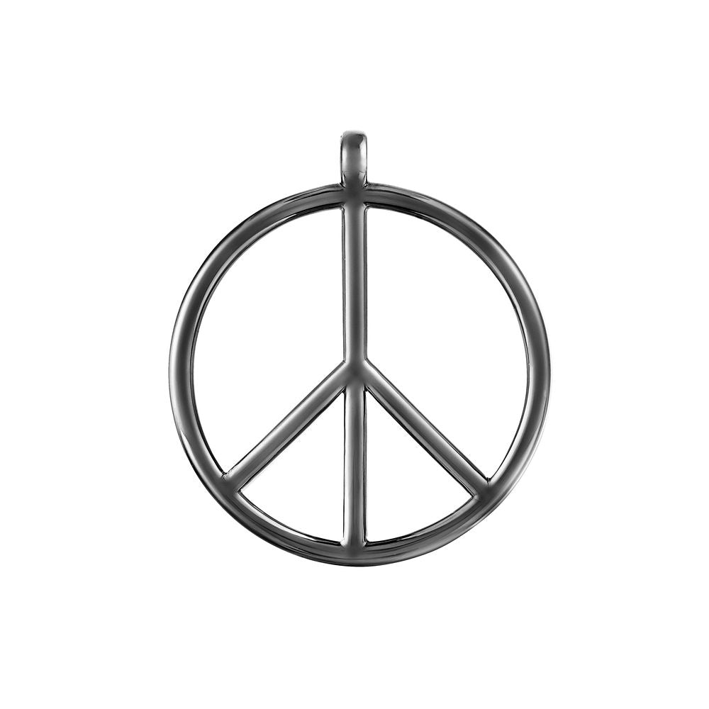 Large Peace and Love Pendant Silver with Black Rhodium