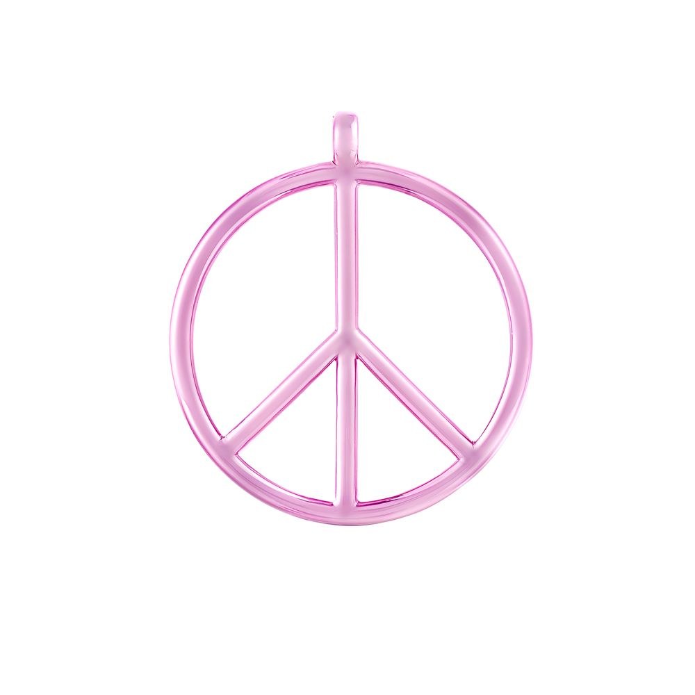 Large Peace and Love Pendant Silver with Pink Lacquer