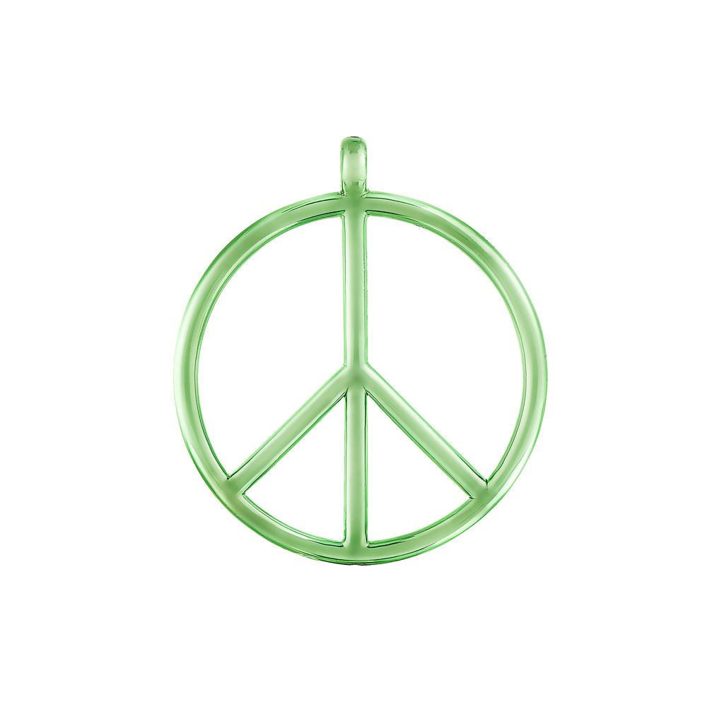 Large Peace and Love Pendant Silver with Green Lacquer
