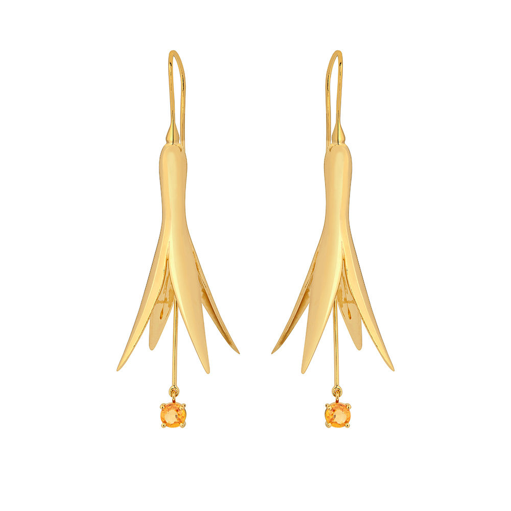 Large Princess Earring with 18K Yellow Gold Plated Silver With Yellow Sapphire