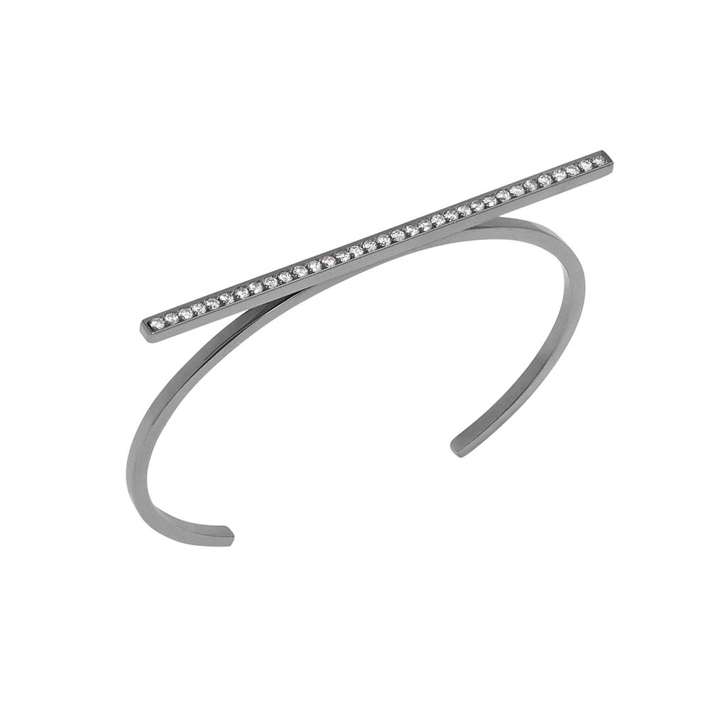Line Bracelet With 18K White Gold With Black Rhodium And Light Light Brown Diamonds 0,60Ct