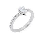 Line Drop Ring With 18K White Gold With Diamond 0,42Ct And 0,15Ct