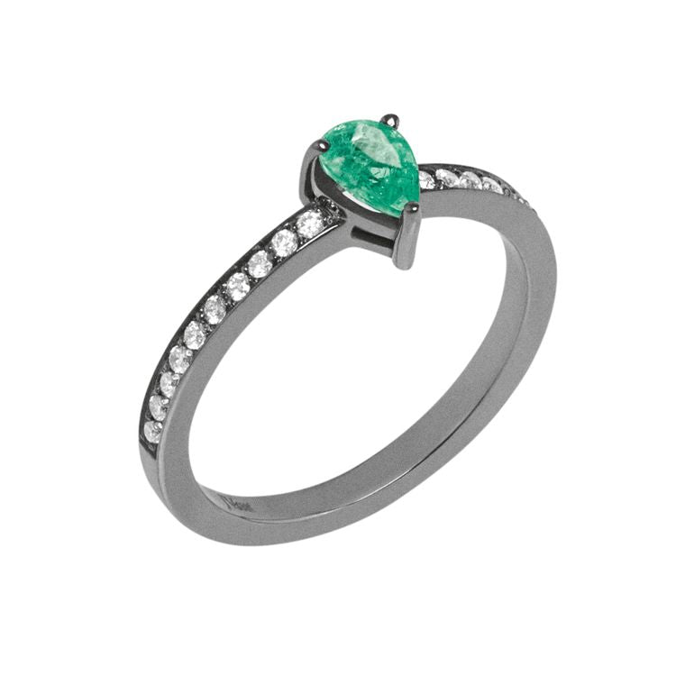 Line Drop Ring 18K White Gold with Black Rhodium, 0,35Ct Emeralds and 0,31Ct Diamonds