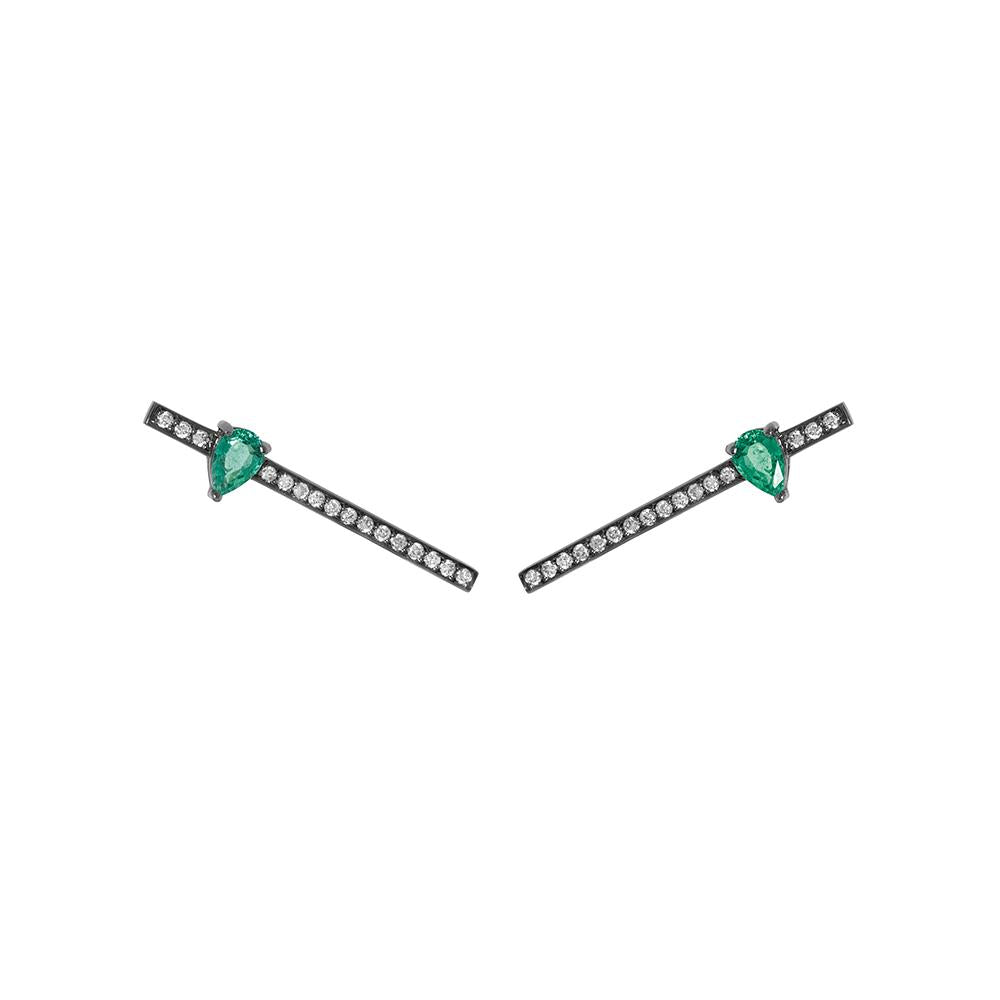 Line Drops Earrings With 18K White Gold With Black Rhodium, Emerald 0,70Ct And Light Light Brown Diamonds 0,35Ct