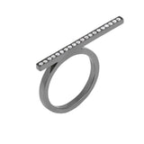 Line Ring With 18K White Gold With Black Rhodium And Light Light Brown Diamond