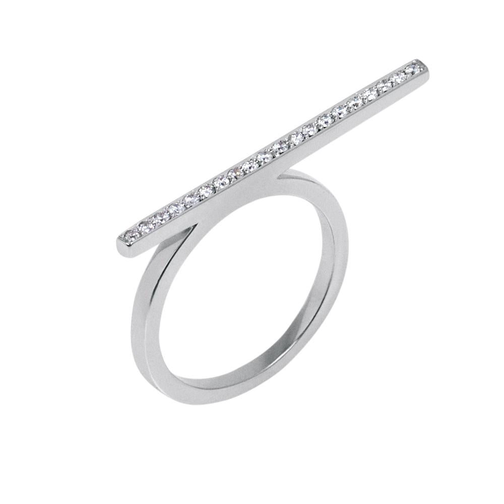 Line Ring With 18K White Gold With Diamonds 0,20Ct