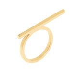 Line Ring With 18K Yellow Gold