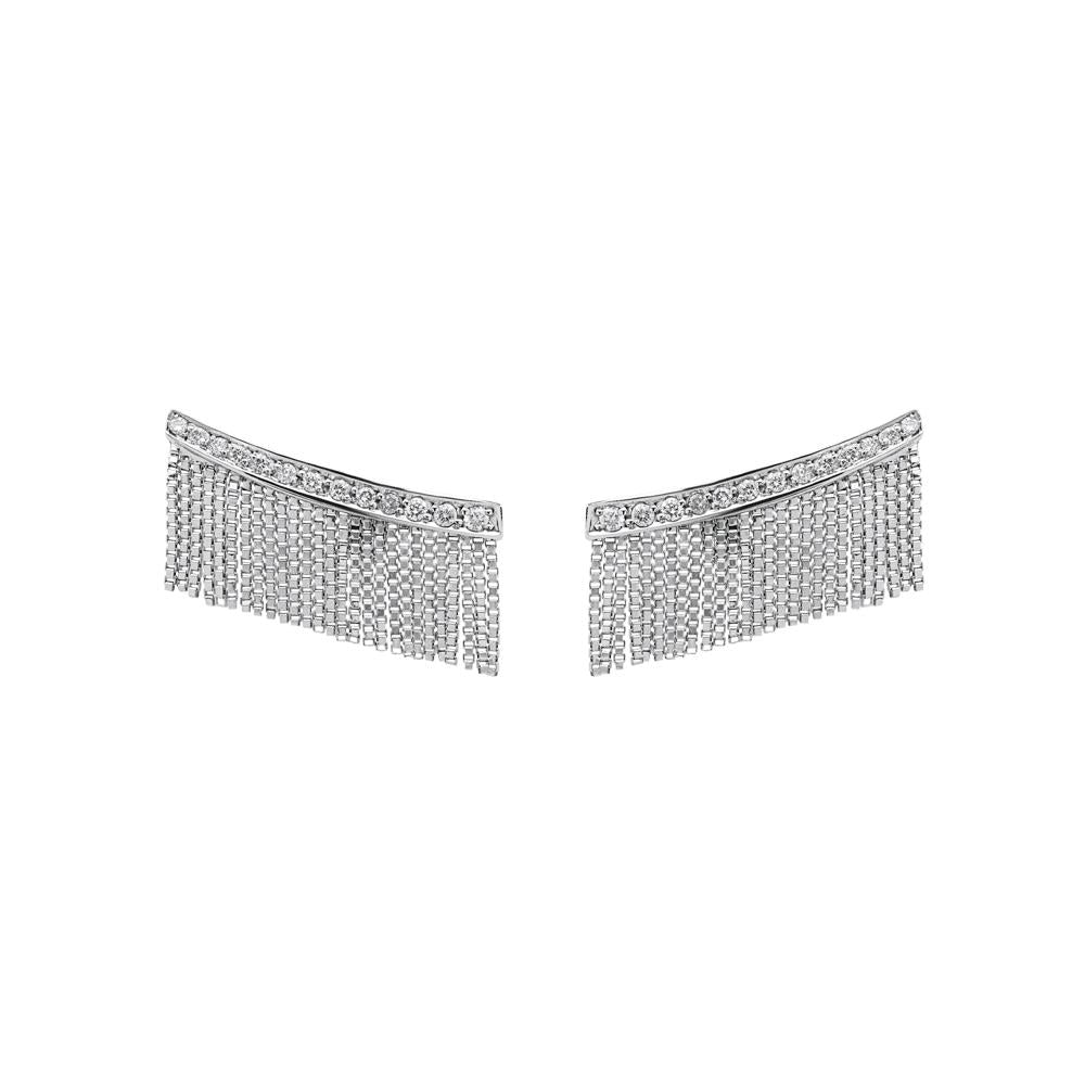 Love Ny Diamond Fringe Earrings With 18K White Gold