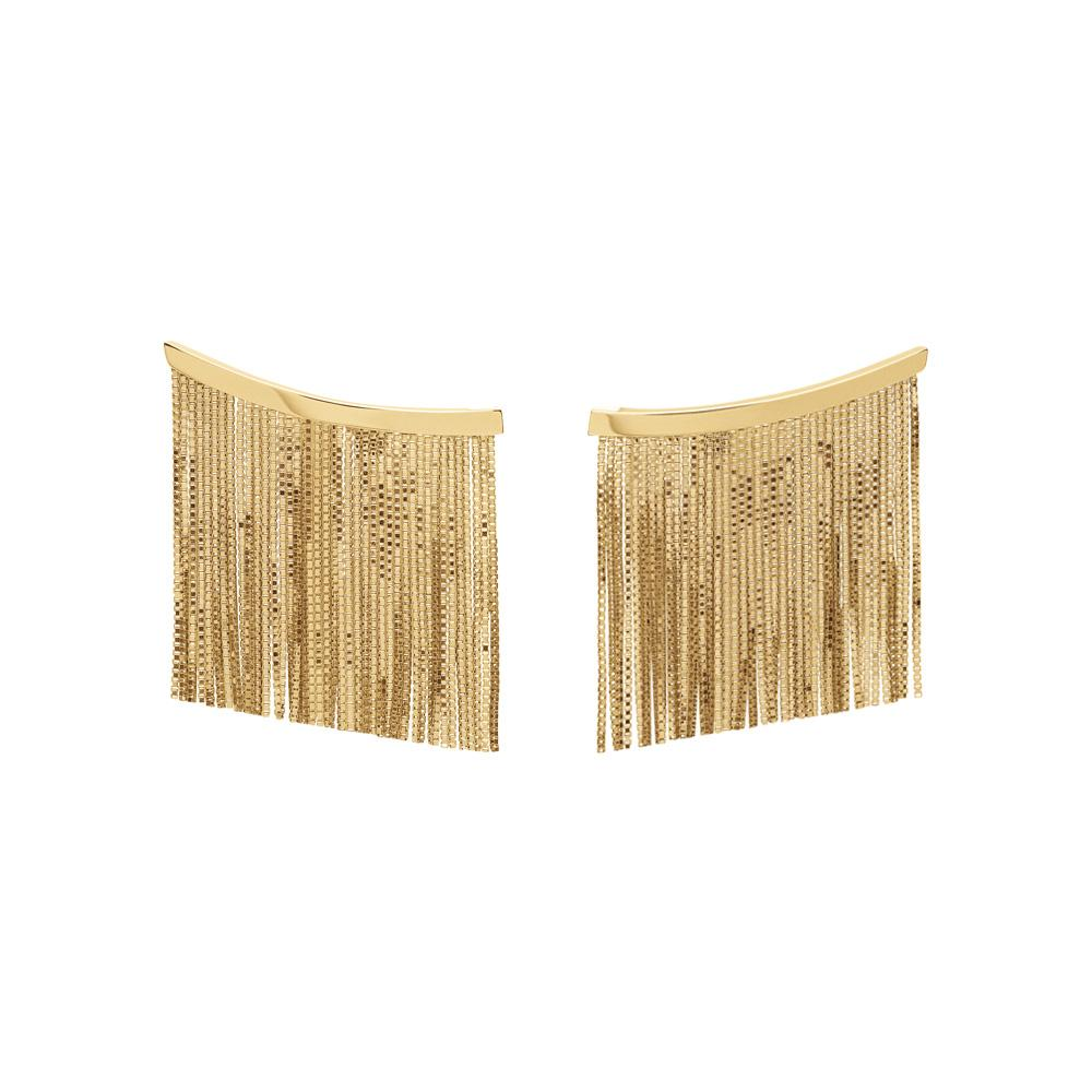 Love Ny Large Fringe Earrings With 18K Yellow Gold