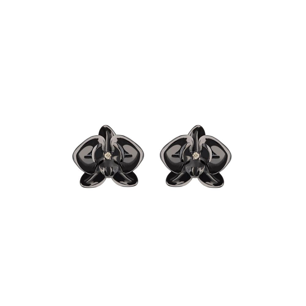 Mini Black Orchid Earring With Silver With Black Rhodium And Diamond