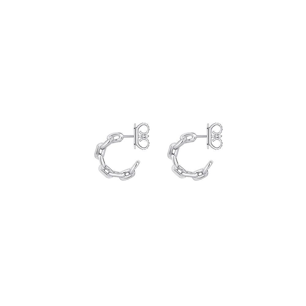Mini Chain Hoop Earrings With White Rhodium Plated Silver