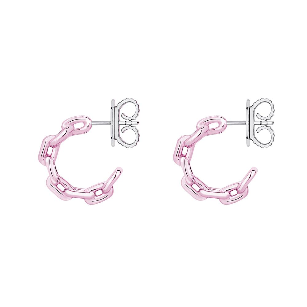 Mini Pink Chain Hoops With Silver With Pink Lacquer