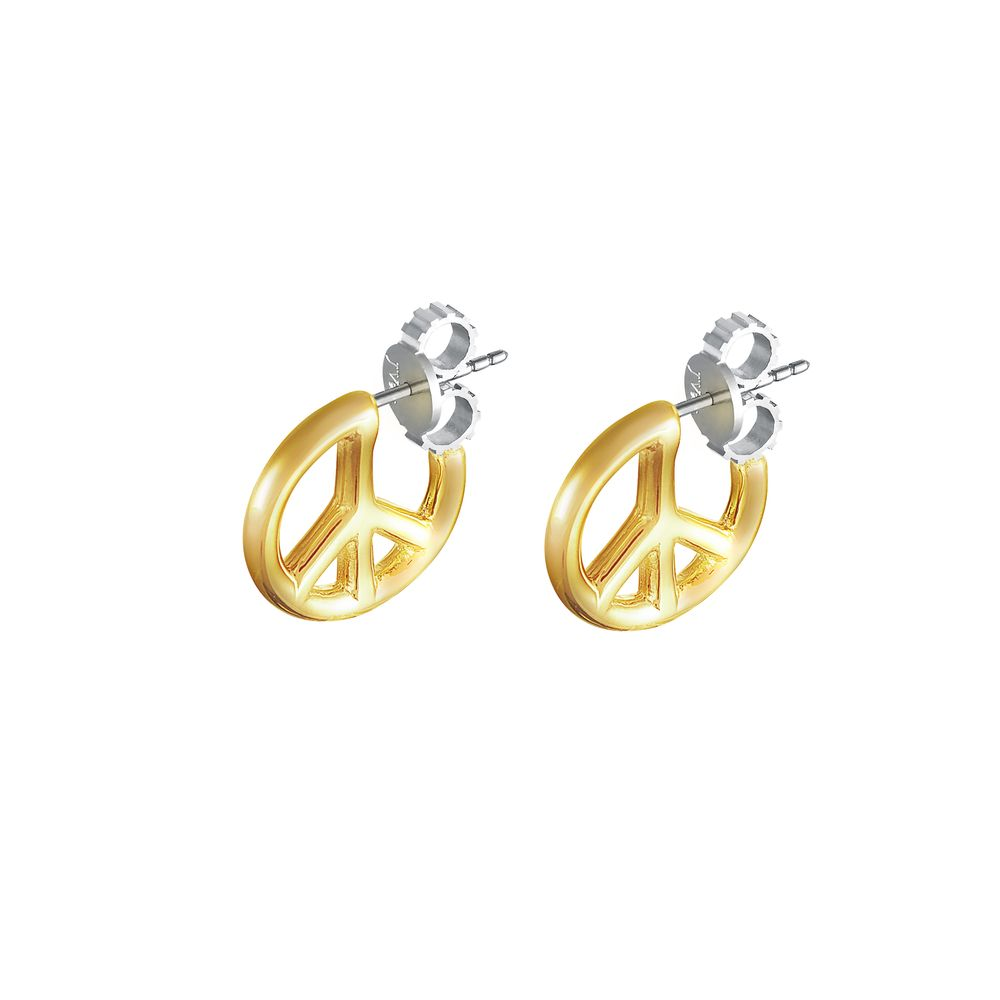 Peace and Love Earring Silver with 18k Yellow Gold