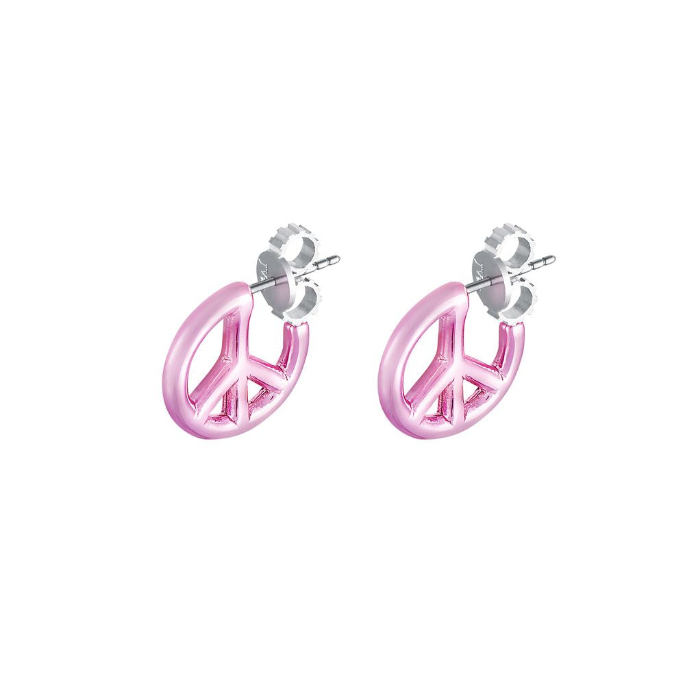 Peace and Love Earring Silver with Pink Lacquer