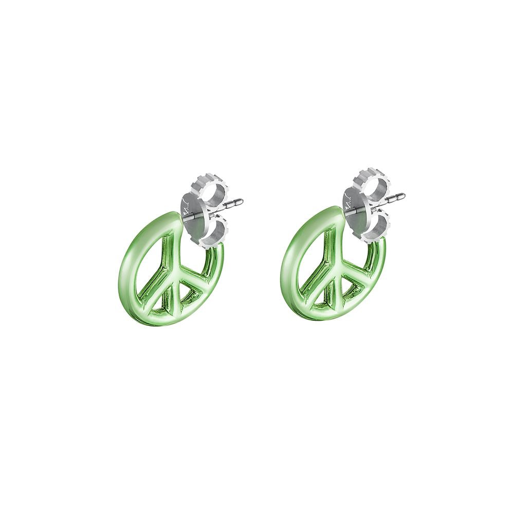 Peace and Love Earring Silver with Green Lacquer