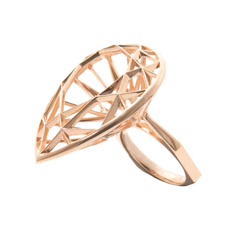 Pear Shaped Ring With Silver With 18K Rose Gold